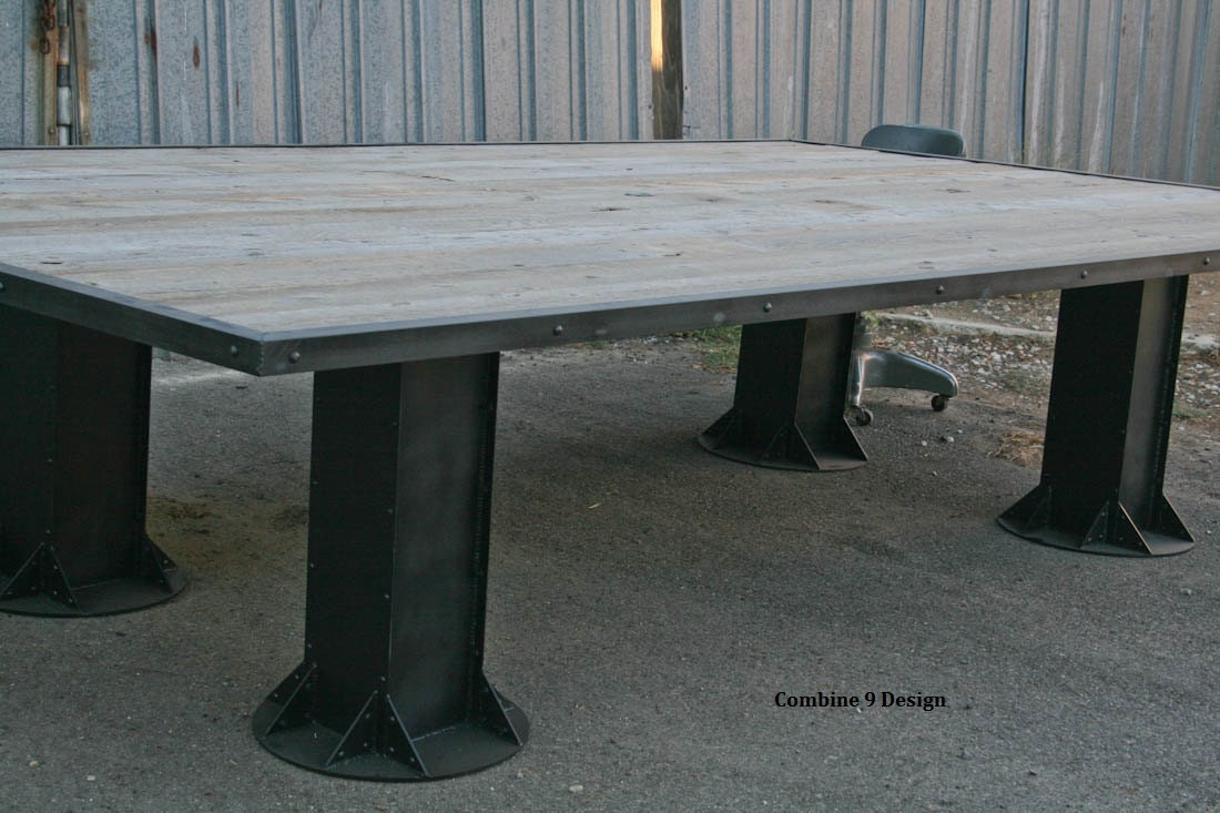Industrial Conference Table. Reclaimed wood and steel.