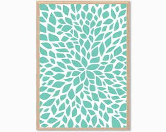 PETALS | Mint Blue Poster : Modern Illustration Retro Art Wall Decor