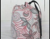 Drawstring Knitting Project Bag - small project bag - Red and black print
