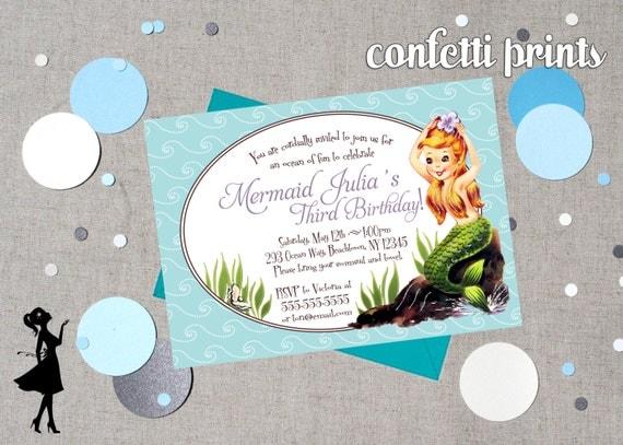 LITTLE MERMAID Birthday Invitation Printable
