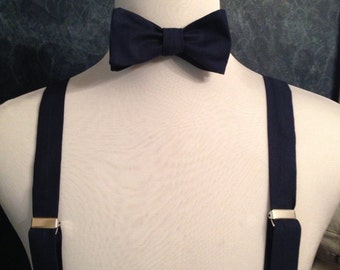 Navy Adult bow tie and suspender set