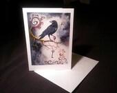 4x6 Note Card - Heart Strings & Raven Wings, Blackbird, Key, Clockwork Bird