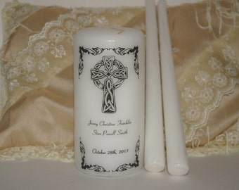 Wedding Candle, Irish unity candle, Personalized Unity Candle Set, Custom Unity Candle