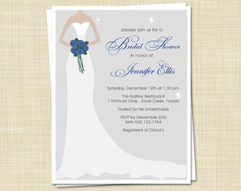 20 Bridal Shower Invitations, Stylish Bride-choose your own wedding colors, PRINTED