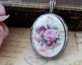 French Rose Large Locket Necklace, Vintage Inspired Oval Rose Cameo Antique Silver Locket Necklace