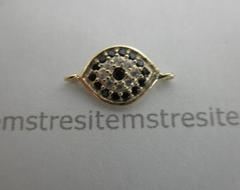 CZ  vermeil sterling silver evil eye connector