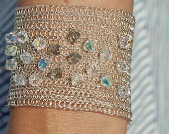 Bridal silver wire crochet cuff bracelet handmade with Swarovski crystals Wide cuff bracelet Metal cuff Fashion jewerly cuff