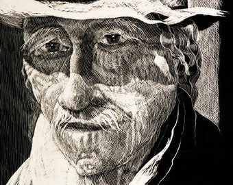"""Art print Scratchboard of """"Alfredo"""". One of series of character studies by German Hevia. Archival Injet, Gicleé print."""