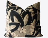Decorative Abstract Botanical Black, Beige, Tan, Coral, 18x18, 20x20, 22x22 or Lumbar, Throw Pillow