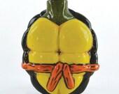 Porcelain Turtle Shell Flask - Orange