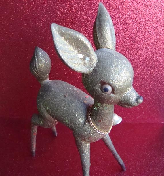 Vintage Gold Glitter Plastic Reindeer ~ Kitschy Retro Christmas Decor