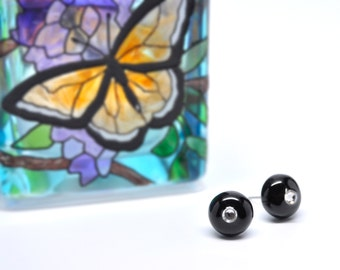 Stud earrings black polymer clay with crystal ear posts 10mm