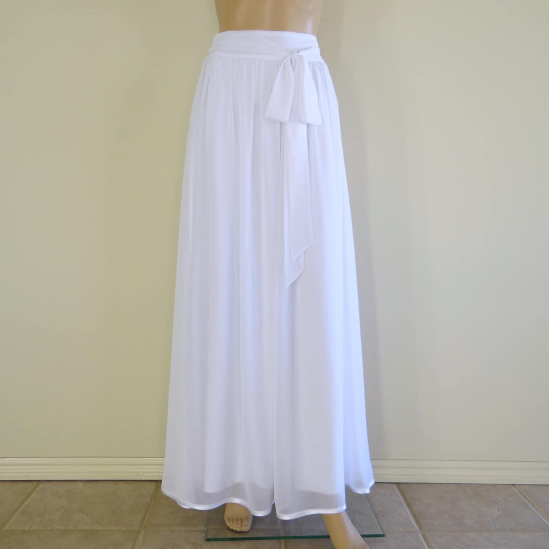 White Long Skirt. White Maxi Skirt. Long Bridesmaid Skirt.