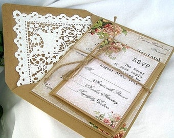 Wedding Invitation Rustic Lace Vintage Coral Peach Rose w Kraft Doily Lace Envelope Beautiful Shabby Chic Custom Any Color Shower Birthday