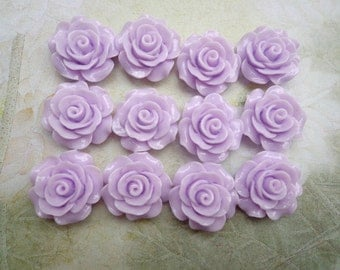 Resin Rose Flower--50pcs 19 mm Lavender  Rose Flowers Cabochons Cameo Base Setting