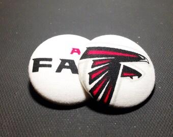 Oversized Atlanta Falcons Print Button Earrings