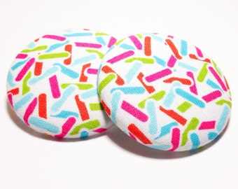 Extra Oversized Colorful Sprinkles Print Button Earrings