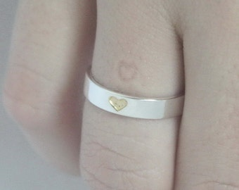 Heart imprint ring, Hidden Heart Sterling silver Ring with tiny gold plated heart and carved heart on inside. Valentines Day, Engagement