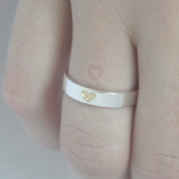 Heart imprint ring Hidden Heart Sterling silver Ring with