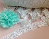 5 yards of Stretch lace elastic 1'inch IVORY lace for baby headbands supplies with Sequins