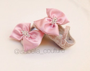 Lace Baby Shoes with Big Bow by Isabella Couture