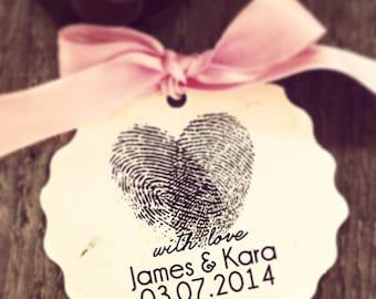 Wedding  Stamp, Self Inking, Wood Mounted, , Save the Date stamp, Housewarming Gift - FREE SHIPPING - Heart Thumbprint