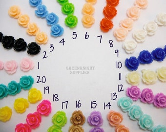 50 pcs Mixed Color flower Resin Cabochons, 10mm in Diameter, 6.5mm Thick