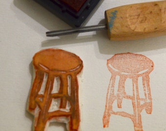 Stool- Handmade Unmounted Rubber stamp