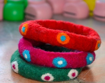 A Set of 3 Polka Dotted Felted Bangles