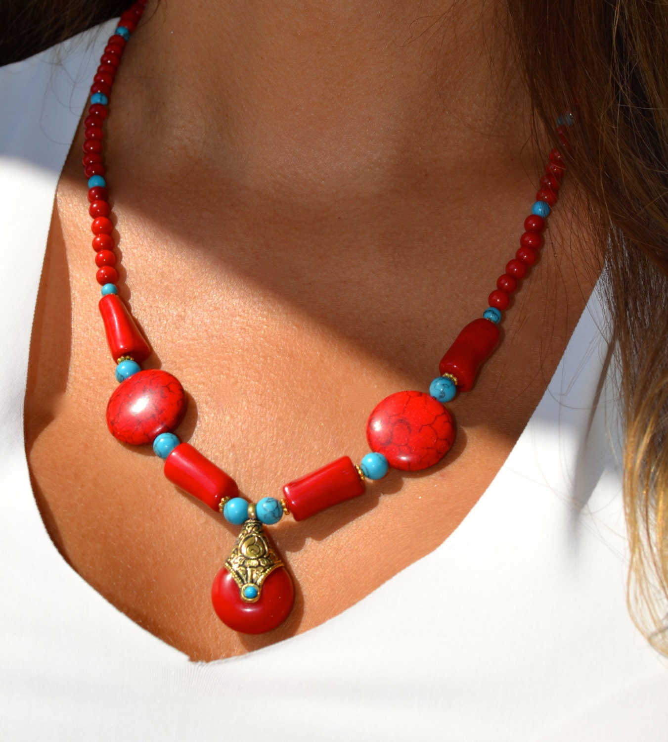 Necklace Beads: Boho Style Chunky Beaded Necklace With By Uniquebeadingbyme