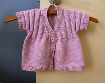 Hand knitted baby sweater, short sleeve cotton blend cardigan, knit girls clothes, pink baby sweater, between seasons cardigan 4 months