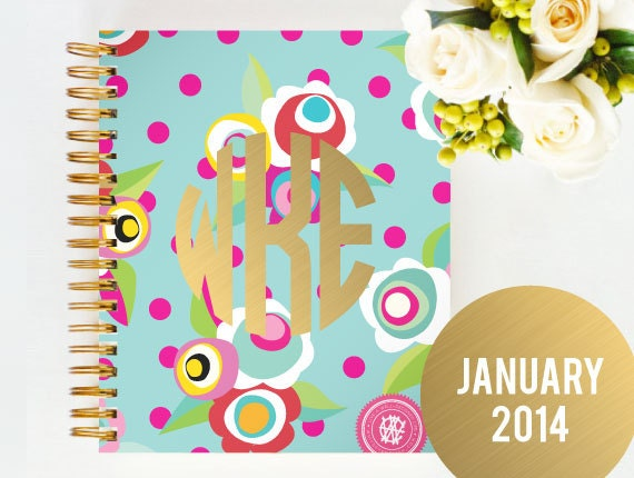 JANUARY 2014 - 2015 Day Designer - Limited Edition - Personalized Monogrammed - Strategic Planner & Daily Agenda for Creative Entrepreneurs