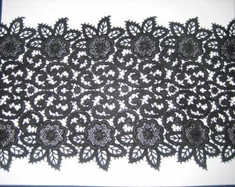 Vintage Rose and Vines Exquisite Black Venitian Lace
