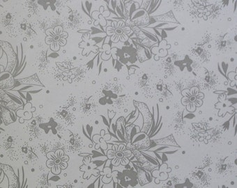 Vintage WEDDING or ANNIVERSARY Gift Wrap - Wrapping Paper - Silver Bouquets - 1960s