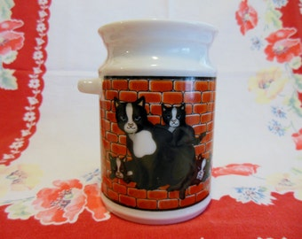 Mom Cat and Kittens Porcelain Milk Jug/ Milk Container ~ Ceramic Jug ~  CATS ~ Kitchen Table Decor