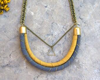 Bib pendant thread necklace. Cotton gray and yellow mustard thread choker necklace