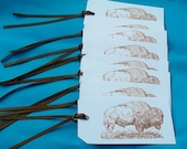 HANDMADE BUFFALO GIFT Tags / Set of Eight / Copper Brown and White