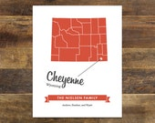 Custom State Map of Wyoming / Wall Art / Wall Decor / Custom Map / Digital FILE