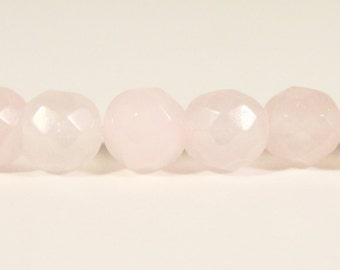Rose Quartz Gemstone Beads 6mm Faceted Round Pink Stone Beads for Jewelry Making on a 7 Inch Strand with 30 Beads