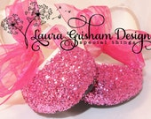 Pink GLITTER BALLET FLATS; Purple Glitter Shoes; Wedding Shoes; Glittered Flower Girl Shoes; Girls Gift Idea; Custom Colors; Fast Shipping