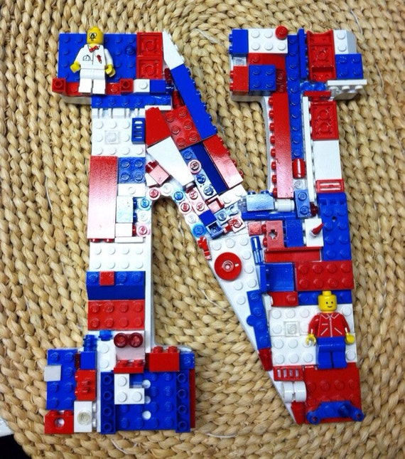 Items similar to custom toy brick letter n red white and for Letter n decorations