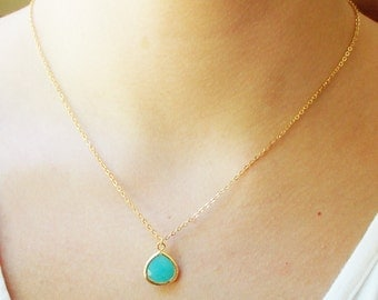 Turquoise Teardrop Necklace - Simple Gold Turquoise Pendant Necklace - GIFT FOR HER - BridesMaid Gift - Gemstone Necklace