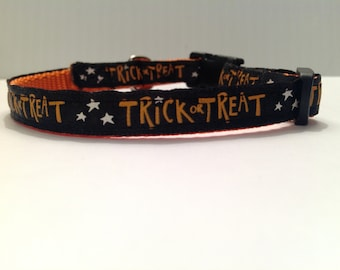 "Black ""Trick or Treat"" Cat/Dog Collar"