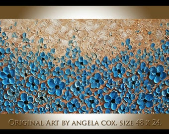 Original Modern  Blue Flowers Impasto Textured palette  Knife   Blue Beige Wall Art Floral  Painting.  Made2Order Size 48 x 24..