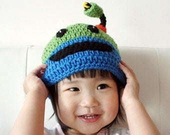 Bot Hat, Team Umizoomi Hat, Crochet Baby Hat, Baby Hat, Animal Hat, photo prop, Inspired by Team Umizoomi