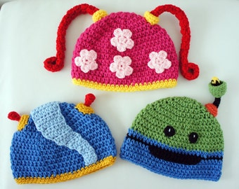 Team Umizoomi Hats, Milli, Geo, Bot, Crochet Baby Hat, Baby Hat, photo prop, Inspired by Team Umizoomi