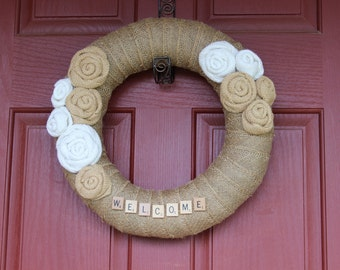 Burlap Wreath/Scrabble Letters/Burlap Roses/Everyday/Summer/Spring/Winter/Fall/Wedding