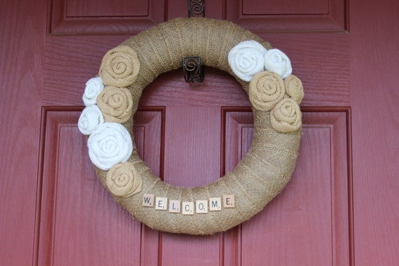 Burlap Wreath/Scrabble Letters/Burlap Roses/Everyday/Summer/Spring/Winter/Fall/Wedding