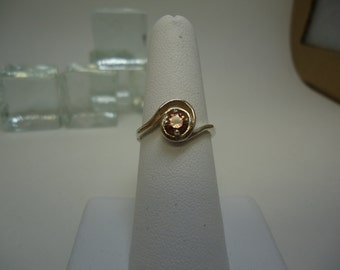 Round Cut Pink Zircon Ring in Sterling Silver   #949