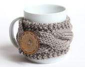 Cozy Coffee cup, Knitted mug cozy, tea cup cozy,  coffee sleeve, gray, warmer